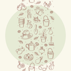 Vector seamless border of hand drawn garden tools, vegetables.