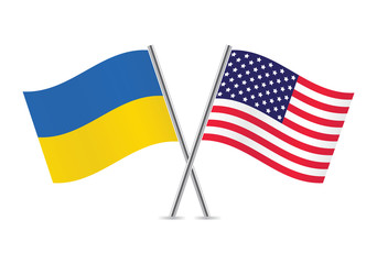 Ukrainian and American flags.