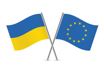European Union and Ukraine flags.