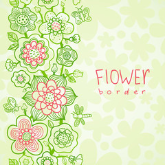 Card with outline floral seamless border with butterfly.