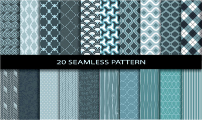 20 seamless simple patterns. Used for wallpaper, print.