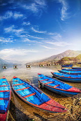 Boats in Pokhara lake