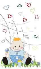 Bebé y corazones 2