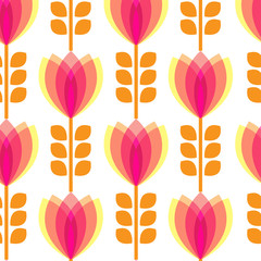 Floral pattern with petal on white background