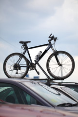 bicycle stands on the roof of the car