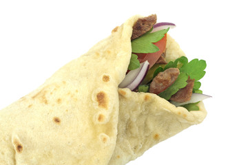 Traditional Turkish wrap roll bread. Dürüm doner kebab.