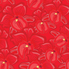 red seamless background with red orchids