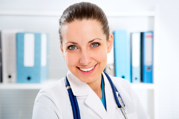 Portrait of woman doctor at hospital