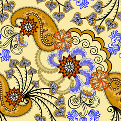 brown paisley decorated with lilac leaves and orange flowers
