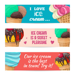 Set of banners with ice-cream