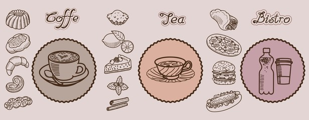 coffe tea bistro vector hand drawn icons