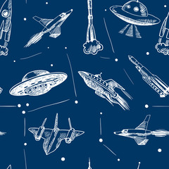 Space aircraft seamless pattern