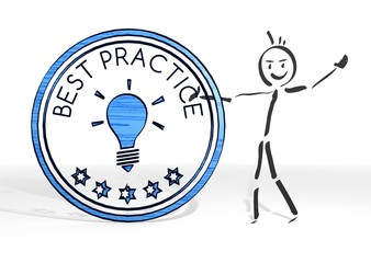 stick man presents best practice symbol