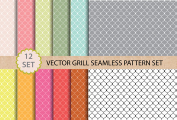 12 set Vector Grill Seamless Pattern