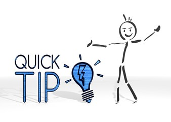 stick man presents quick tip symbol