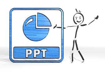 stick man presents ppt sign