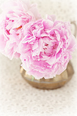 delicate pink peony flowers in a vase on the table.
