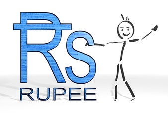 stick man presents Rupee symbol