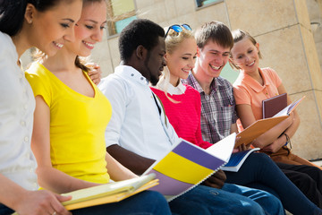 Group of university students studying
