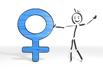 stick man presents woman symbol