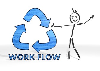 stick man presents workflow sign