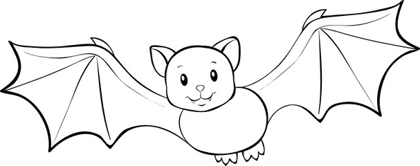 Lineart fliegende Fledermaus