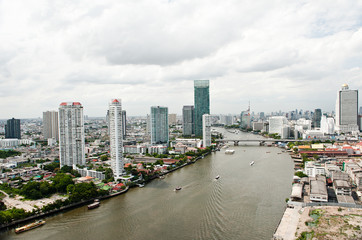 Bangkok city and Chao Praya River