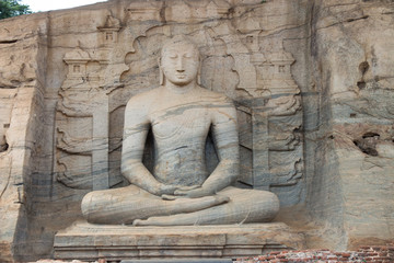 Statue of Lord Buddha in Gal Vihara at Polonnaruwa, Sri Lanka