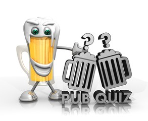 beer character presents pub quiz symbol