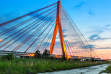 Cable stayed bridge in Gdansk at sunset, Poland - 67444750