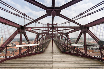 Orange iron bridge in Bizkaia, Portugalete, Spain