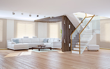 living room interior. 3d concept