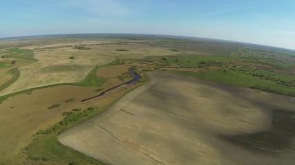 Rural panorama from big height .Aerial summer