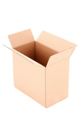 open corrugated cardboard box isolated on white