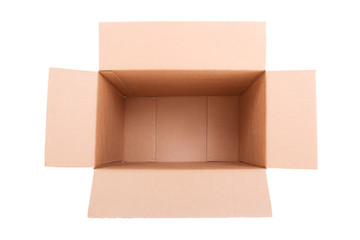 open brown carton box isolated on white
