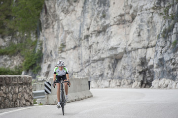 road cycling girl downhill