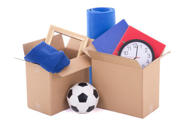 moving day concept - brown cardboard boxes with stuff isolated o