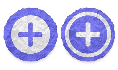 two icons with texture crumpled paper and plus symbol