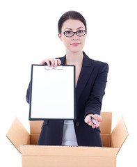 delivery - woman holding clipboard with copyspace in cardboard b