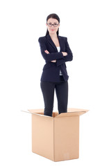 dismission concept - business woman in cardboard box isolated on