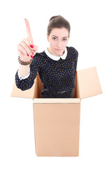 business woman showing idea gesture in cardboard box isolated on