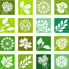 Green flower icons