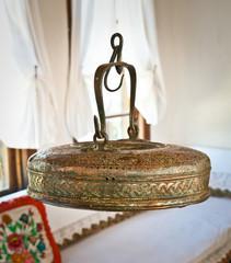 Vintage copper teapots in Albanian house , Gjirokaster. Albania