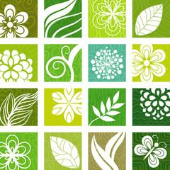 Rectangular floral icons