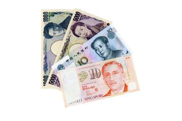 Banknoten asiatischer Länder