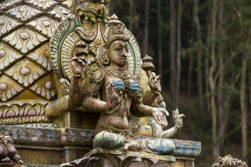 Hindu gods and demons on a temple, Sri Lanka