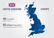 United Kingdom world map. England map with pixel diamond texture