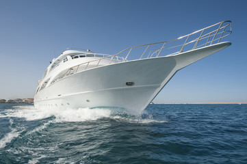 Private motor yacht at sea