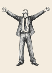 Sketch illustration of a businessman standing with open arms