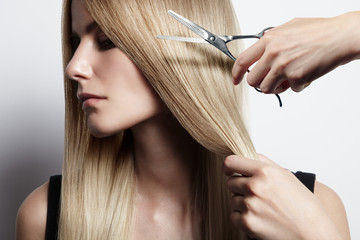 closeup portrait of a haircut process